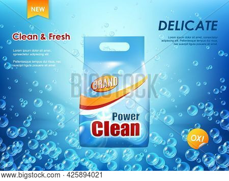 Washing Powder Packaging, Laundry Detergent Vector Ad Banner. Realistic Plastic Package, Pack Or Bag