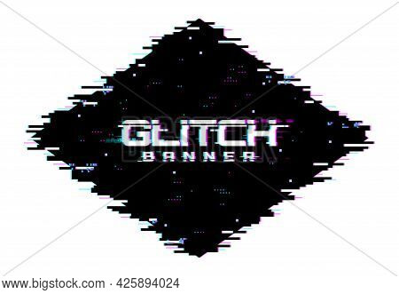 Digital Color Distortion Glitch Screen, Lines And Pixel Noise Background. Vector Glitched Banner Wit