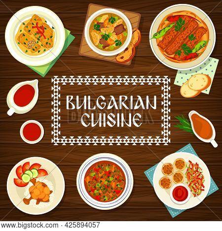 Bulgarian Food Cuisine Menu Cover, Bulgaria Dishes And Traditional Meals, Vector. Bulgarian Food, Au