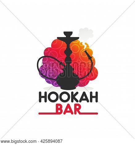 Hookah Bar Vector Icon With Shisha Or Nargila Black Silhouette. Isolated Hookah, Bowl, Glass Vase, H