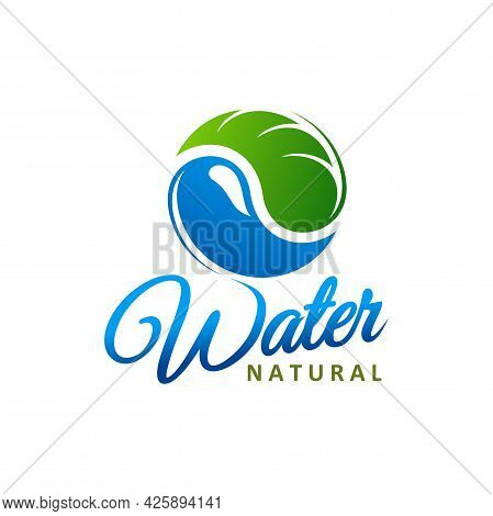 Natural Water Icon. Blue Drop With Green Leaf Symbol And Lettering. Environment And Ecology Protecti