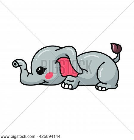 Vector Illustration Of Cute Baby Elephant Cartoon Lay Down