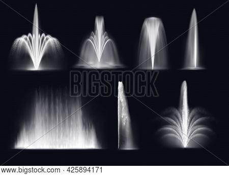Spouting Fountains Jets Or Water Geysers Eruptions Splashes. Realistic Vector Park Or Garden, Illumi