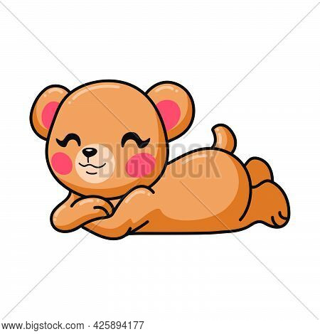 Vector Illustration Of Cute Baby Brown Bear Cartoon Laying Down