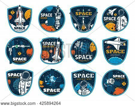 Space And Galaxy Discovery Icons, Rockets And Spacecrafts Launch To Planets, Vector Signs. Spaceman
