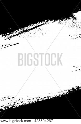 Grunge Background, Frame With White Paint Brushstroke, Scratches. Ink, Dirt Or Paint Trace, Graphic