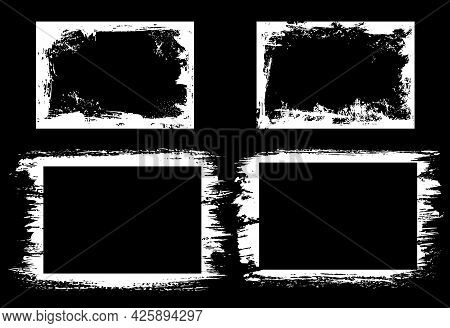 Grunge Vector Frames And Borders With Brush Stroke Edges Of White Paint On Black Background. Rough F