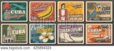 Cuban Travel, Food, Nature And Culture Vector Design. Retro Posters With Havana Beach Palms, Caribbe