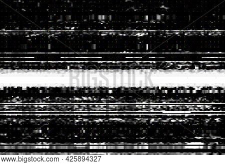 Screen With Vhs Video Glitch Effect, Wide Distortion Line And Digital Pixel Noise. Vector Background