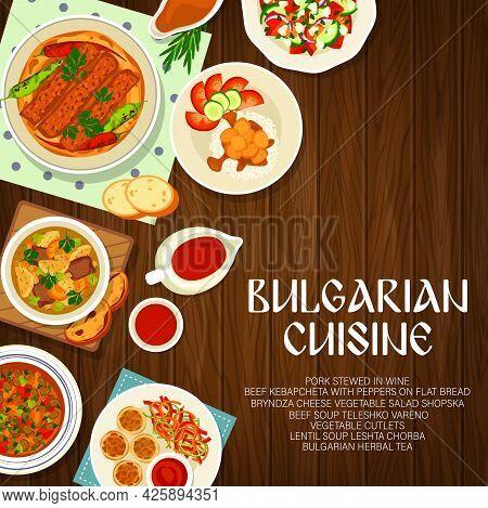 Bulgarian Cuisine Menu Cover, Bulgaria Food Dishes And Meals, Vector. Traditional Bulgarian Food Men