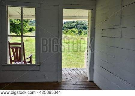 Peaceful Porch From The Interior Of An Abandoned Home In Tennessee
