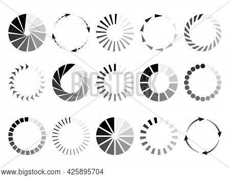 Round Page Circles. Internet Loading Circle Elements, Radial Vector Load Status Preloader Icons, Vec