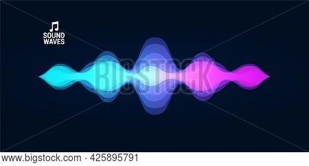 Sound Recognition, Audio Wave, Voice Record. Futuristic Sound Wave Concept Voice Assistant. Hi-tech