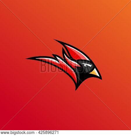 Red Cardinal Vector Illustration, Head Red Cardinal Logo E Sport. Mascot Logo Design Template