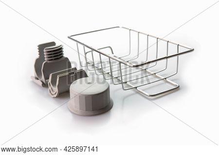 Close-up, Wire Soap Holder, Metal Basket Sponge Holder For Bathroom & Kitchen On White Background. S
