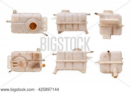 Engine Cooling, Set Of Car Coolant Reservoir Spare Tank Isolated On White Background With Clipping P