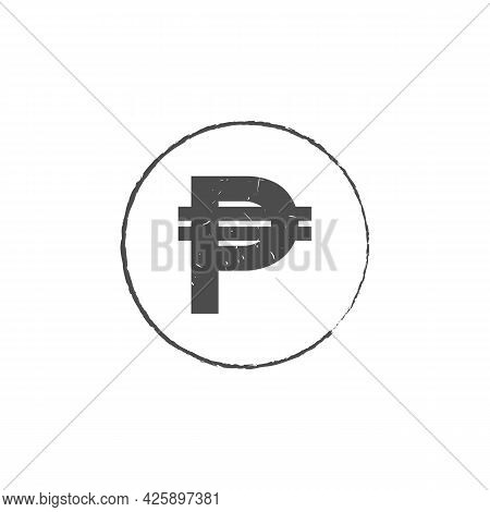 Philippine Peso Php Grunge Stamp Seal Vector Design. Currency Mainstream Symbol With Grunge Stamp Se