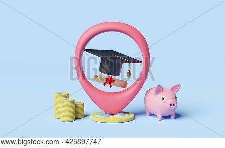 Pin With Hat Graduation,money Coins,diploma Rolled, Piggy Bank Saving Isolated On Blue Background.in