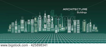 Architecture Building Concept Design For Modern City Illustration Cityscape, Skyline, Skyscraper, Pe