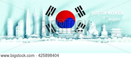 Illustration Anniversary Celebration Independence South Korea Day In Background South Korea Flag, Tr