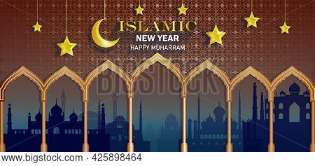 Celebration Anniversary Islamic Happy New Year Of Muslim, Pattern Golden Design Background With Mosa