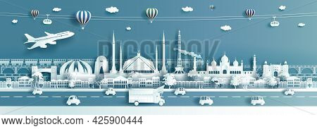 Travel Destination Landmarks Pakistan With Truck, Cable Car, Balloons And Airplane, Tour Landmark Is
