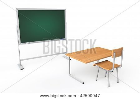 Empty Classroom With Blackboard And Desk