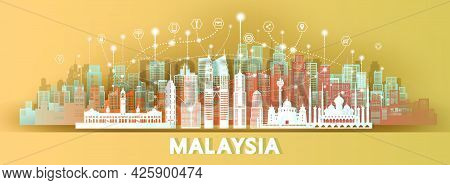 Technology Wireless Network Communication Smart City With Architecture In Malaysia Asia Downtown Sky