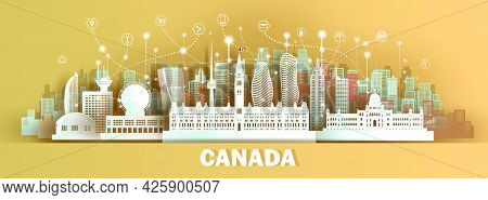 Technology Wireless Network Communication Smart City With Architecture In Canada Skyscraper Downtown