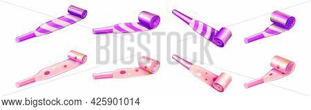 Party Horn Blowers With Color Stripes And Dots For Birthday Celebration. Vector Realistic 3d Set Of