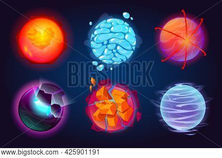 Set Of Fantastic Planets, Cartoon Galaxy Ui Game Asteroids. Cosmic World, Alien Space Design Element