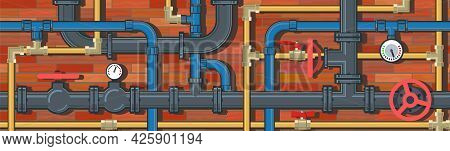 Pipeline System. Seamless Pattern. Horizontally Background Picture. Brick Wall. Vector