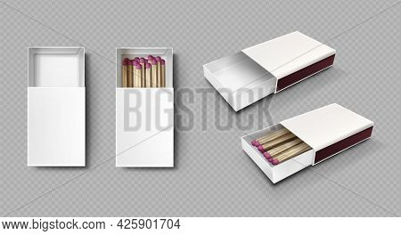 Matches In Box, Matchsticks With Pink Sulphur And Wooden Sticks Lying In Open Case Top View And Isom