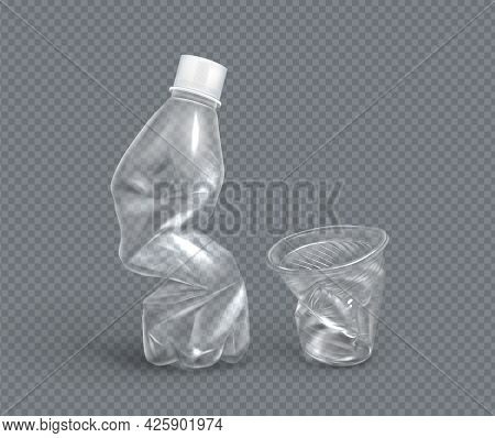 Crumpled Plastic Cup And Bottle For Water, Disposable Mug And Flask. Crumple Trash, Used Empty Conta