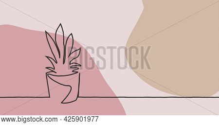 Image of drawing of plant in black outline against pastel pink and brown background. colour and movement concept digitally generated image.