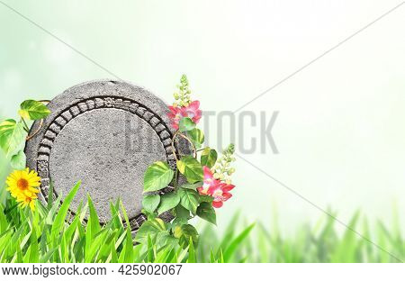Horizontal banner with tropical plants leaves, lianas, flowers and round stone. Exotical border with plant of jungle and copy space for text. Jungle stone sign on nature background. Mock up template