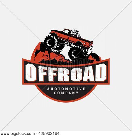 Off-road Car Logo Illustration, With Emblem Design Offroading Suv Adventure, Extreme Competition Emb