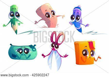 School Supplies Cartoon Characters. Student Education Stationery Mascots Pencil, Scissors, Eraser, T