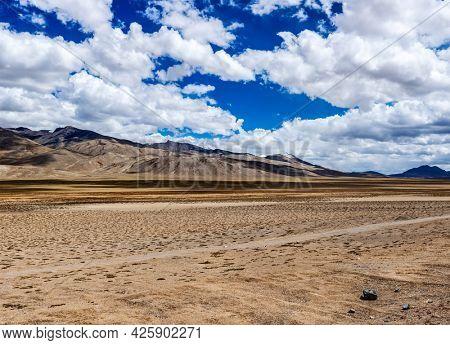 Panorama of Himalayan landscape in Himalayas along Manali-Leh road. Ladakh India