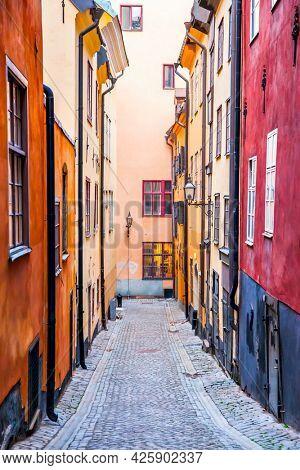 Colorful old street in Gamla Stan in Stockholm, Sweden