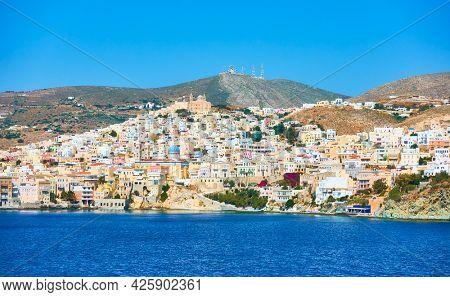 Ermoupoli town on the coast of Syros Island, Greece