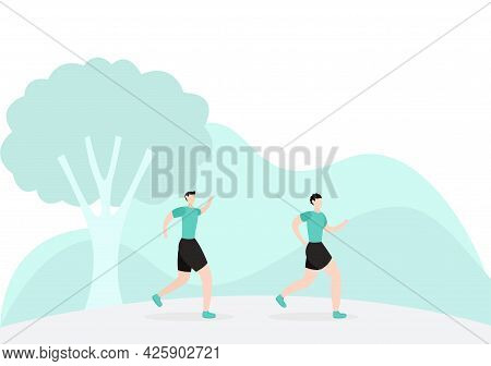 Jogging Or Running Sports Background Illustration Men And Women For Active Body, Healthy Lifestyle,