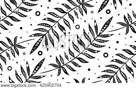Seamless Pattern With Monochrome Tropical Leaves With Folk Decoration. Texture With Black Silhouette