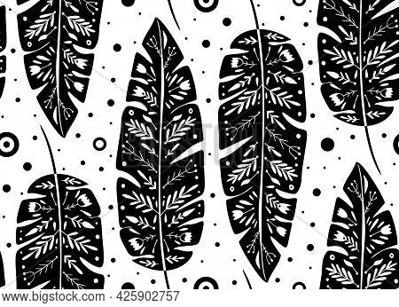 Tropical Pattern With Black Banana And Palm Leaves And Folk Pattern On White Background. Natural Mon
