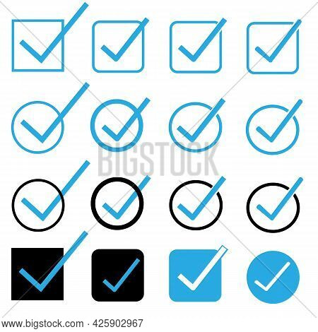 Blue Tick Checkbox On White Background. Tick Sign. Check Mark Symbol. Flat Style.