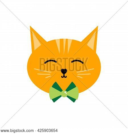 Cute Cartoon Style Ginger Cat Head, Happy Face Illustration, Icon For Pet And Animal Design.