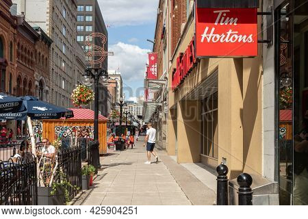 Sparks Street View With Walking People In Downtown Of Ottawa In Canada