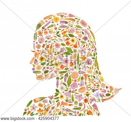 Art floral girl profile silhouette made of beautiful natural flowers. Illustration trendy colorful blooming human head abstract idea with great composition. Botany health concept made of flowers