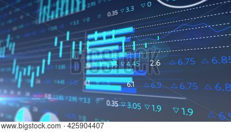 Image of stock exchange display board with graphs and numbers changing. global business finance concept digitally generated image.