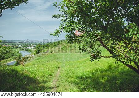 Summer Landscape With A View Through The Branches Of A Tree On A Green Hill, A River On The Side Of